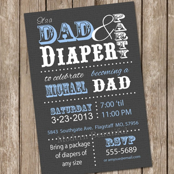 Diaper baby shower invitation grey and blue dad diaper invitation il570xn filmwisefo