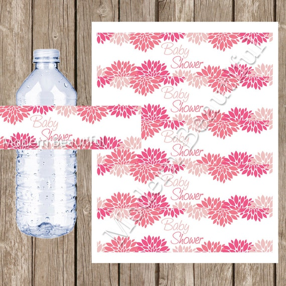 flower baby shower water bottle labels pink flower printable