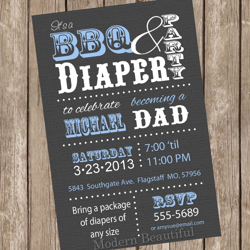 BBQ and Diaper Baby Shower Invitation Grey and Blue Dad Diaper