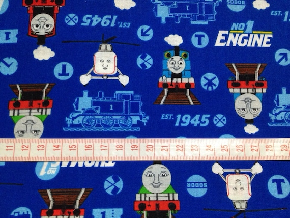 Thomas The Train Fabric Blue Color One Yard From