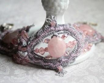 Gray Pink Rose Quartz Beaded Tatting Lace Bracelet