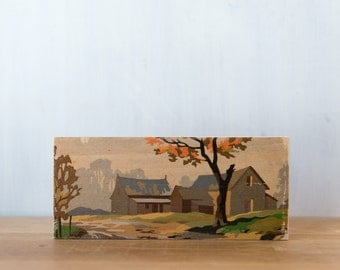 Paint by Number Art Block 'Fall Barn' Horizontal - autumn, rural landscape, vintage art