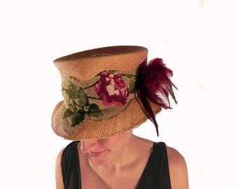 Panama straw hat made of vintage canvas needlepoint embroidery and feathers
