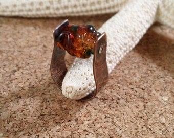 Organic Copper Ring Stirrup Horseshoe with Glass Bead - Size 4 Saddle Ring  Ready to Ship SRAJD OOAK