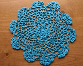 Large Blue Crochet Doily, 7 to 8 inch size Bright Blue Doily