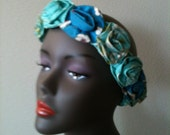 1950sVINTAGE// Hawaiian cotton flowered head band//Honolulu//by The Bete inc.
