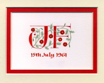 Wedding initials letters in red with poppies Wedding  Anniversary Valentine Gift