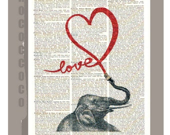 LOVE - Valentines day, pop art ORIGINAL ARTWORK  printed on Repurposed Vintage Dictionary page -Upcycled Book Print