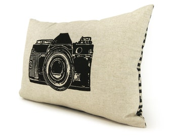 16x16 or 12x18 Lumbar Camera Photo Pillow Case, Cushion Cover | Decorative Throw Pillows | Black, Natural Beige & Geometric Greek Key Accent