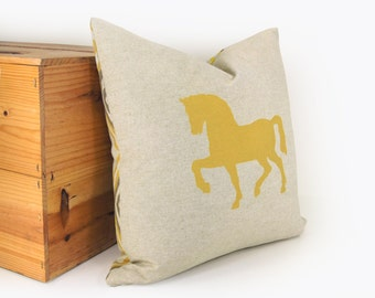 16x16 Horse Pillow Case, Cushion Cover | Yellow and Gray | Animal Print | Horse in Mustard, Taupe & Beige with Geometric Diamond Accent