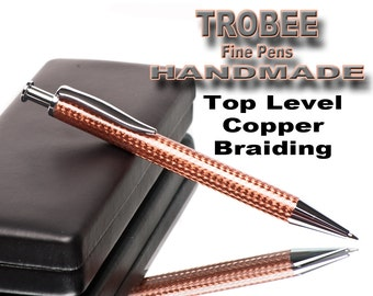 Copper Pen braided for an awesome look. Chrome metal parts make this a sensational writing ballpoint