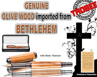 Made by hand Olive Wood Fountain Pen  Holy gift  Wood Imported from Bethlehem. Great Church Gift  Comes with card of authenticity. Pen case