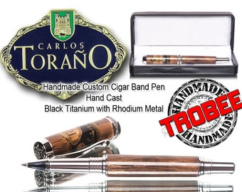 Pen Gift for the cigar smoker, smooth writing real Carlos Torano band one of a kind executive pen - rollerball pen