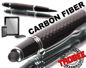 hand made Carbon Fiber Pen Gift for a Man  stylus to press on phones ,  tablets makes typing easy. World class black carbon fibre ballpoint.