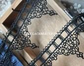 Exquisite Black Venice Lace Trim Retro Lace 1.96 Inches Wide 2 yards