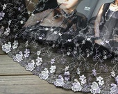 2 Yards Black Tulle Lace Trim Light Yellow Purple Flowers Embroidered Lace 10 Inches Wide