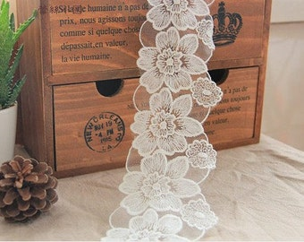 Cotton Tulle Lace Trims Flowers Embroideried Bridal Lace 3.3 Inches Wide 2 yards