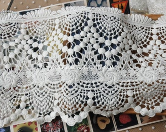 Milk White Wide Cotton Lace Trim Hollowed Out Floral Embroidered Lace 7 Inches Wide 1 Yard