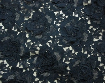 Black Venice Lace Fabric Big Roses Fabric 47 Inches Wide 1/2 Yard For Wedding Dress Veil Costume Supplies