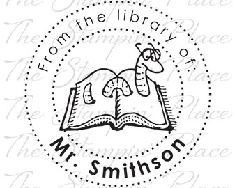Personalized Custom Stamp - Bookworm From the library of - PK220