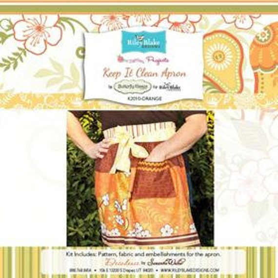 Orange Keep it Clean Apron sewing  Kit (pattern and fabric)