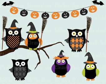 Halloween clip art,  owl clip art,  Royalty free clip art- Instant Download