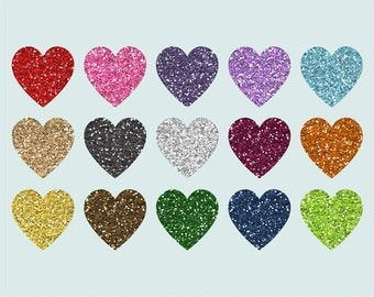 Sparkle Hearts clip art images, glitter hearts clip art,  royalty-free - Instant Download