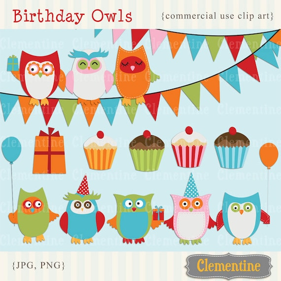 Printable owl clip art, birthday clip art, royalty free, commercial use clip art- Instant Download