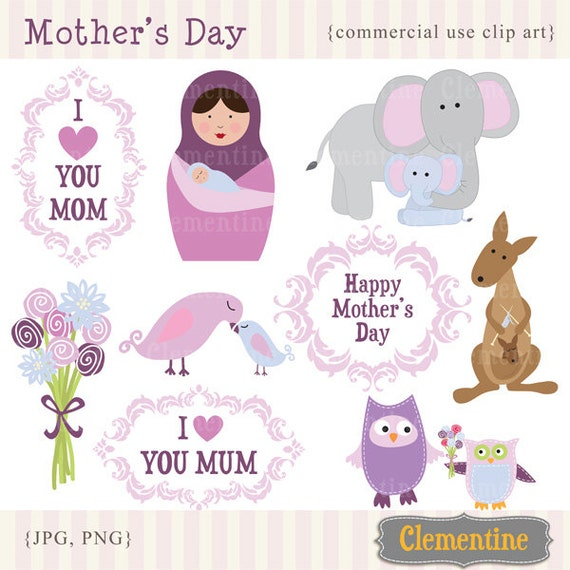 Mothers Day clip art images, owl clip art,  Mothers day clipart,  commercial use clip art- Instant Download