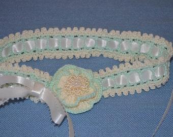 Mint Green & Ivory  Crocheted Headband 14020-G