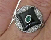 Art Deco Onyx, Diamond and Emerald White Gold Ring, circa 1925