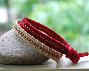 Suede wrap bracelets in red and beige - a set