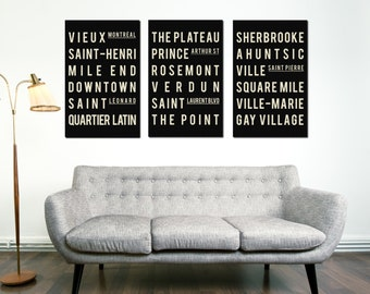 Subway Art - MONTREAL Art, Montreal Subway, Canada - Typography Print, Wall Art, Modern Art Poster, Typography Design, Poster Art, Set of 3