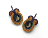 Orange Blue Colorful Summer Soutache Earrings