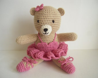 Crocheted Stuffed Amigurumi Ballerina Bear in Raspberry Tutu