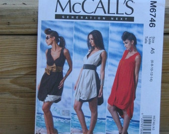 Summer Dress Pattern, Mc Calls 6746 Generation Next Series, SZ 6 through 14