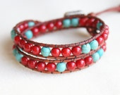 Red Bamboo Coral Bohemian beaded wrap bracelet, Genuine Leather, silver, Turquoise, southwestern, artisan trendy jewelry, hipster, SALE