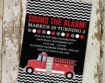 birthday party invitations with fire truck theme digital, printable file (item 207)