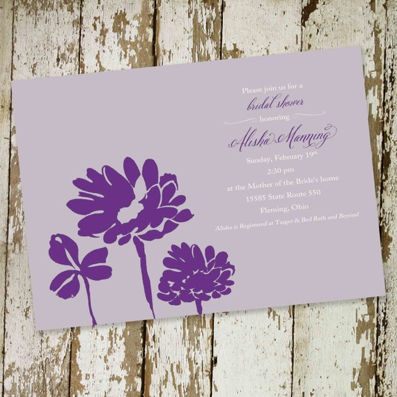 bridal shower invitations with flowers, any colors, digital, printable file (item 345)