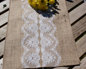Burlap and Ivory lace table runner