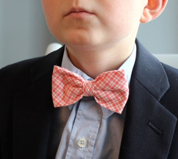 Boys Bow tie in Coral Double Gingham - Clip on - ring bearer attire