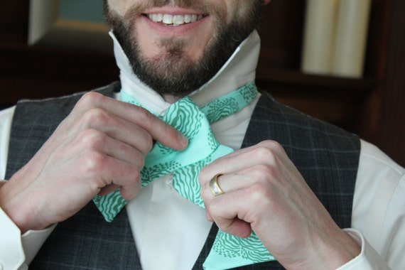 Men's Bow Tie in Turquoise Floating Buds- freestyle bow tie, pre-tied adjustable strap or self tying