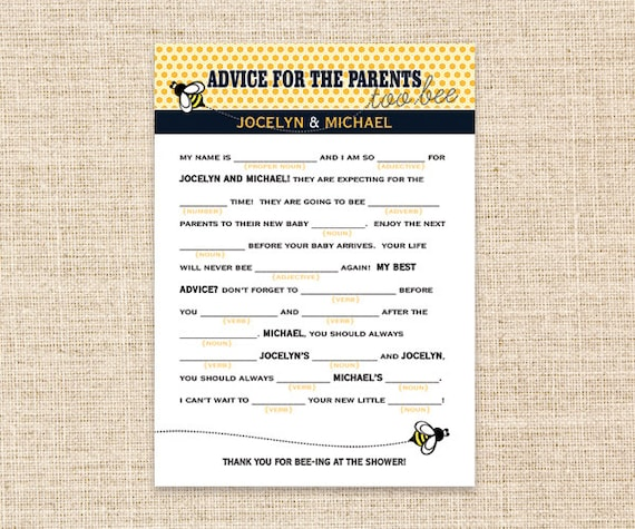 Baby Shower Tips For New Moms: Items Similar To DIY Printable Madlibs For Baby Shower