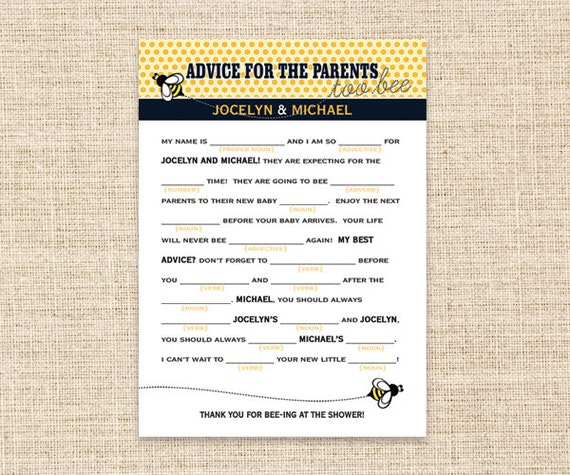 Items Similar To DIY Printable Madlibs For Baby Shower