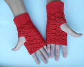 Fire-engine Red Ladies Crocheted  fingerless gloves - wristers - mittens - mits