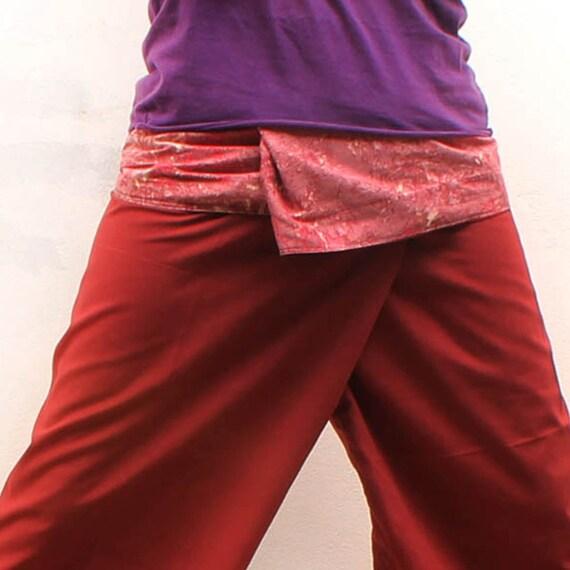 UNIQUE marble print  on waist and brown cotton Thai fisherman capri pants 2 tone,size S-XL,yoga pants,unisex pants.