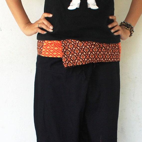 Uniqe Thai sarong print on waist  2 tone and black  long Thai fisherman pants,size S-XL,yoga pants,unisex pants.