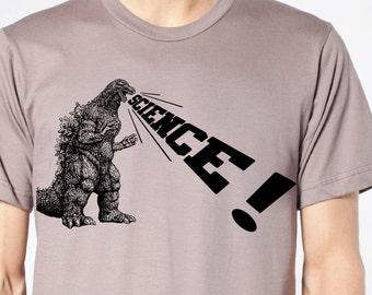 mens Godzilla Science organic t shirt- American Apparel cinder - available in S, M, L, XL, XXL- WorldWide Shipping