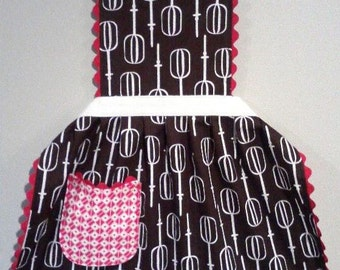 Girls Full Apron, Chocolate Retro Mixer, Full Apron for Kids size 6-12