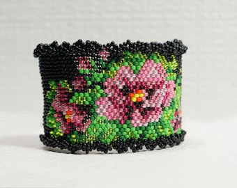 Tea Rose Peyote Stitch Bracelet Rose Beaded Bracelet